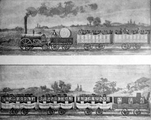 First passenger railway 1830, Liverpool & Manchester Railway.  Source - Wikipedia
