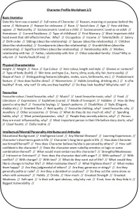 Character Profile Worksheet 1