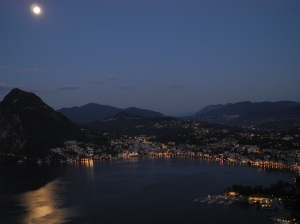 Lago di Lugano, Switzerland, with San Salvtore beneath the moon.