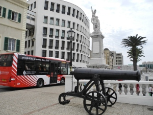 Gibraltar: The War Memorial with a Russian cannon in the foreground.