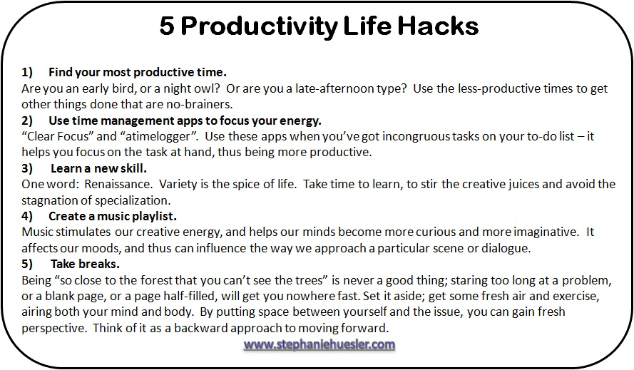 5 Productivity Life Hacks