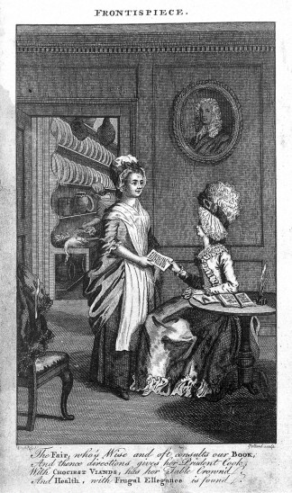 """L0014984 H. Glasse's """"Art of cookery"""": lady and her maid"""