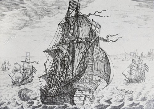 Line engraving of The Griffin - William Hawkins's ship during the Armada Campaign, Engraved by C. J. Visscher, 18th Century
