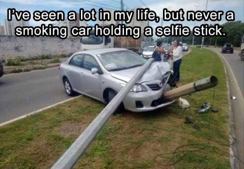 Smoking Car with Selfie Stick