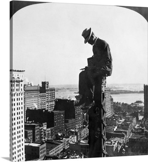 Construction - Photographer, 1907, sitting at the top of a column of a new building