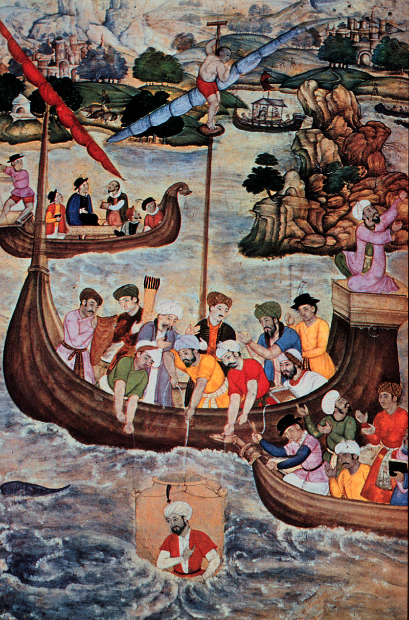 16th century Islamic painting of Alexander the Great lowered in a glass diving bell - Wikipedia