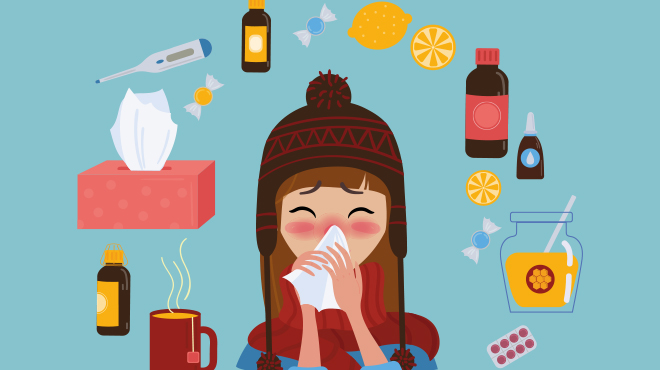 Flu girl-blowing-nose-illustration - Mayo Clinic, credit